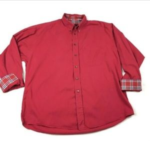 Burberry London Mens Red Long Sleeved Button Down